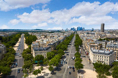 Paris skyline Champs Elysees and La Defense. Paris skyline aerial Champs Elysees and La Defense in France stock photography