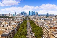 Paris skyline Champs Elysees and La Defense stock images