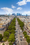 Paris skyline Champs Elysees and La Defense. Paris skyline aerial Champs Elysees and La Defense in France royalty free stock photo