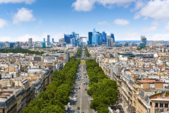 Paris skyline Champs Elysees and La Defense. Paris skyline aerial Champs Elysees and La Defense in France royalty free stock photos