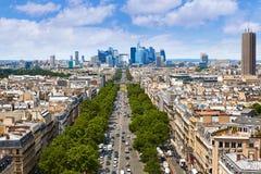 Paris skyline Champs Elysees and La Defense Stock Photos
