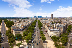Paris skyline Champs Elysees and La Defense. Paris skyline aerial Champs Elysees and La Defense in France stock photo