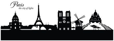 Paris Skyline Cityscape. Vector illustration of Paris, France, cityscape skyline in silhouette with famous landmark buildings Royalty Free Stock Images