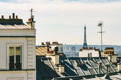 Paris skyline with Eiffel tower in the center stock photography