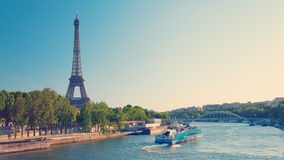 Paris skyline with Eiffel Tower and Seine River Royalty Free Stock Images