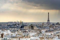 Paris Skyline and Eiffel Tower at sunset Stock Photos