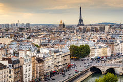Paris skyline with Eiffel Tower at sunset Stock Photography