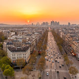 Paris skyline. The famous Champs-Elysées in Paris from the top of the Arc De Triomphe at night Stock Photography