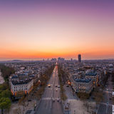 Paris skyline. The famous Champs-Elysées in Paris from the top of the Arc De Triomphe at night Royalty Free Stock Images