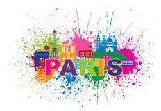 Paris-Skyline-Farbe plätschern Text-Farbvektor-Illustration Stockfotografie