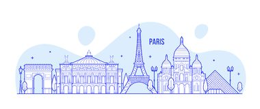 Paris skyline France city notable buildings vector. Paris skyline, France. This illustration represents the city with its most notable buildings. Vector is fully stock illustration