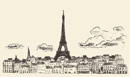 Paris skyline France eiffel sketch drawn vector. Paris skyline France vintage engraved illustration hand drawn Royalty Free Stock Photo