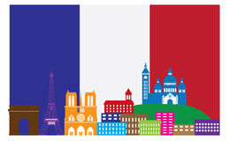 Paris Skyline in French Flag Color Vector Illustration Stock Photo