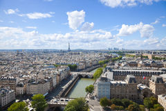 Paris Skyline. Great panoramic. From Notre Dame at a summer day.  Can see the Seine and most popular parisien monuments: Eiffel tower; Louvre museum, La Defense Royalty Free Stock Image