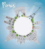 Paris skyline with grey landmarks, blue sky and copy space Stock Photo