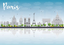Paris skyline with grey landmarks and blue sky. Stock Photo