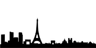 Paris skyline with monuments. Vector illustration of the city of paris panorama with all the most famous monuments, as eiffel tower, arch of triumph, louvre and Stock Image