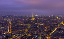Paris-Skyline nachts Lizenzfreie Stockbilder