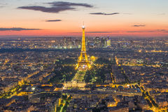Paris skyline at night in France Stock Photography