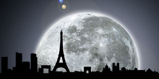 Paris skyline night with moon. Digital elaboration and silhouette of paris skyline by night with the full moon and stars in the sky, useful for any event, in