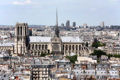 Paris skyline and Notre Dame Cathedral Stock Photos