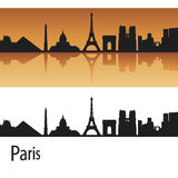 Paris skyline in orange background Stock Images