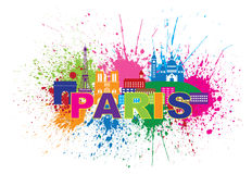 Paris Skyline Paint Splatter Text Color Vector Illustration. Paris France City Skyline Outline Silhouette Paint Splatter Abstract Colorful Text Isolated on White Stock Photography