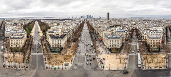 Paris skyline panorama from the Arc de Triomphe - France. La Def Royalty Free Stock Photo