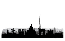 Paris skyline. Paris cityscape with famous landmarks and buildin Stock Images