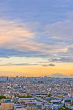 Paris skyline from the Sacre Coeur. At a summer sunset Royalty Free Stock Images