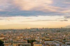 Paris skyline from the Sacre Coeur. At a summer sunset Stock Photography