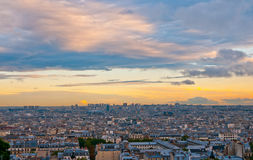 Paris skyline from the Sacre Coeur. At a summer sunset Stock Images