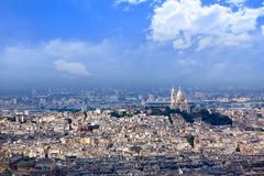 Paris skyline and Sacre Coeur basilique Stock Photography