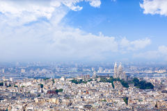Paris skyline and Sacre Coeur basilique Royalty Free Stock Image