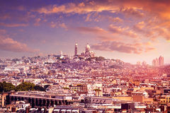 Paris skyline and sacre coeur cathedral France Royalty Free Stock Image