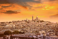 Paris skyline and sacre coeur cathedral France Royalty Free Stock Photography