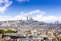 Paris skyline and sacre coeur cathedral France Royalty Free Stock Images