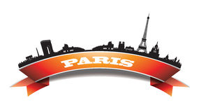 Paris-Skyline-Schattenbildfahne Stockfoto