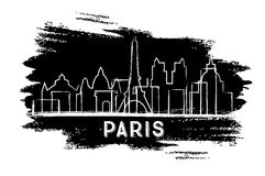 Paris Skyline Silhouette. Hand Drawn Sketch. Business Travel and Tourism Concept with Historic Architecture. Image for Presentation Banner Placard and Web Site royalty free illustration