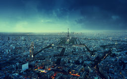 Paris-Skyline am Sonnenuntergang Stockfotografie