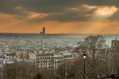 Paris skyline in sun rays Royalty Free Stock Images