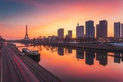 Paris skyline at sunrise, France Stock Photo