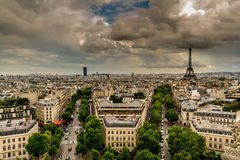 Paris Skyline at Sunset from Arc De Triomphe Royalty Free Stock Photography