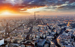 Paris skyline. At a sunset, France Stock Images