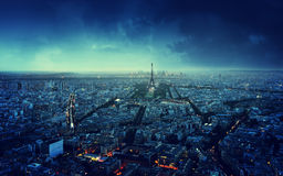Paris skyline at sunset, France Stock Photos
