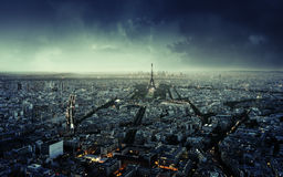 Paris skyline at sunset, France Royalty Free Stock Photos