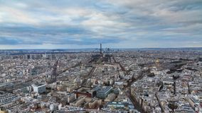 Paris skyline timelapse stock video footage