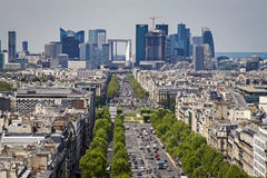 Paris skyline towards the Grande Arche Royalty Free Stock Photos