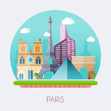 Paris.  Skyline and vector landscape of buildings and  famous la Royalty Free Stock Images