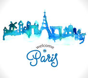 Paris skyline watercolor background Stock Photos